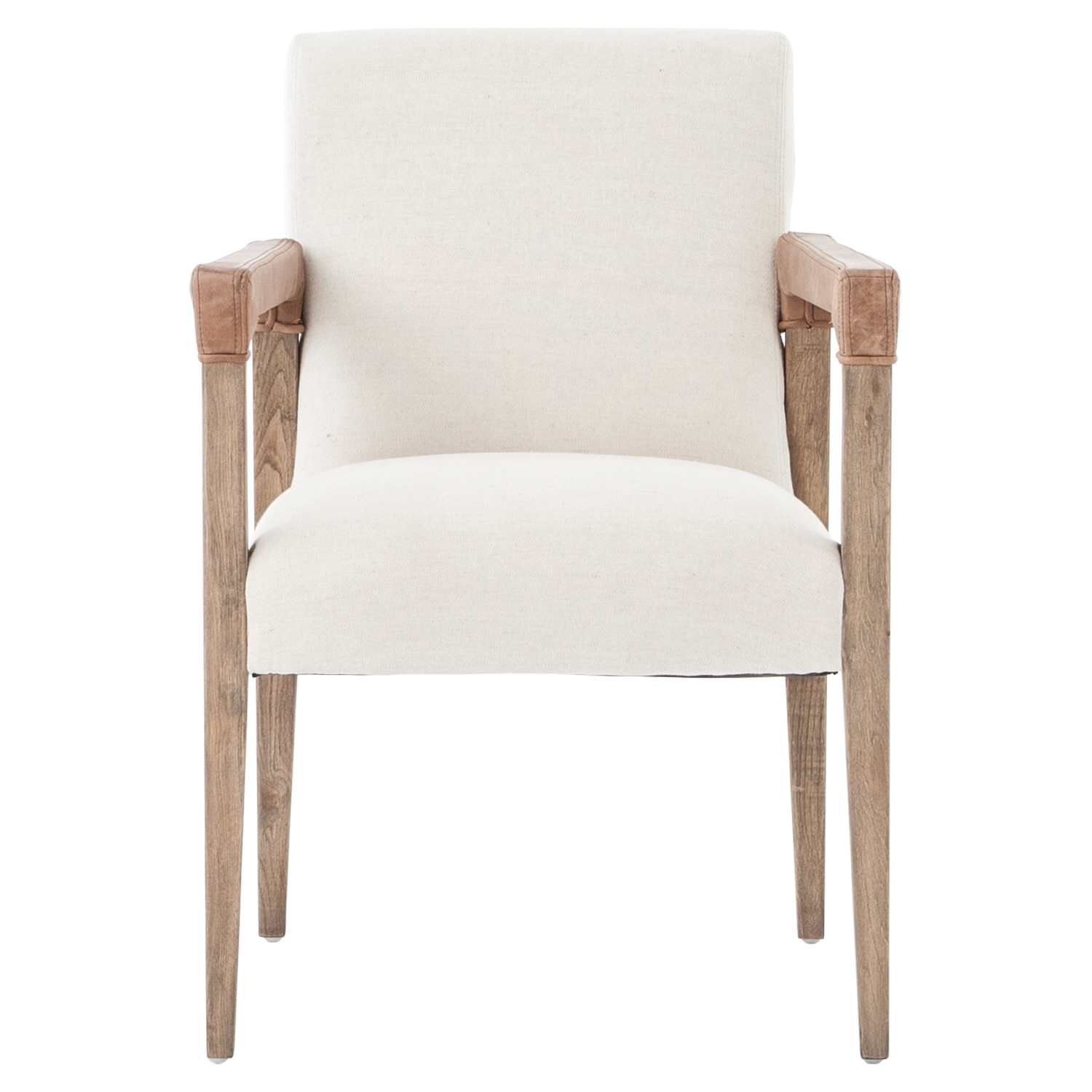 Jolie Modern French Country White Linen Leather Oak Dining Arm Chair