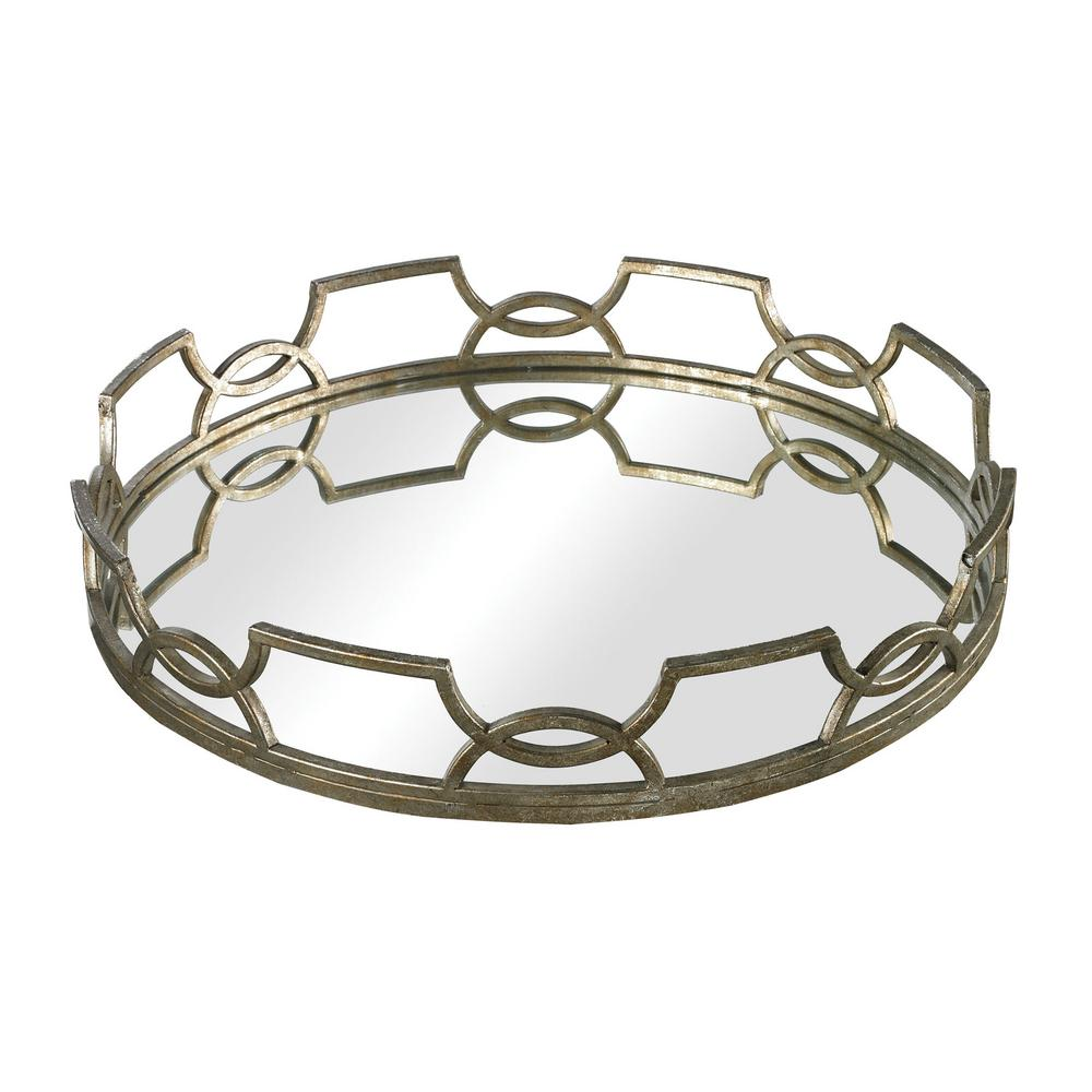 Iron Scroll Round Mirrored Decorative Tray