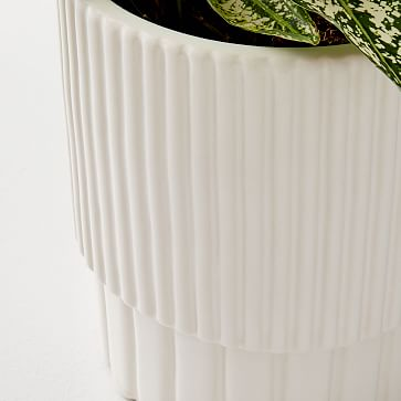 Fluted Planters, White,Small