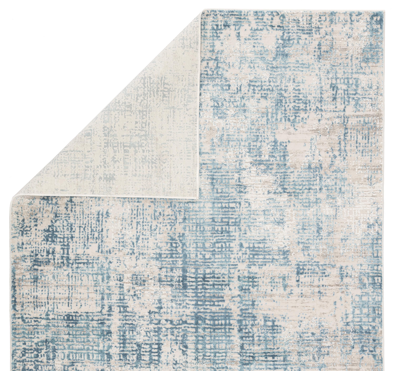 "Eero Abstract Blue/ Ivory Area Rug (5X7'6"")"