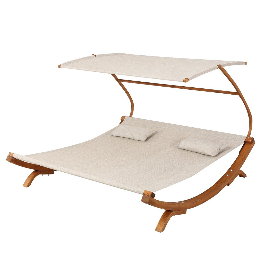 Noble House San Juan 7 ft. Free Standing Outdoor Hammock with Stand, Natural