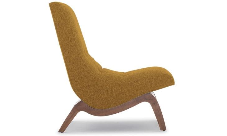 Yellow Cooper Mid Century Modern Chair - Genova Gold - Walnut