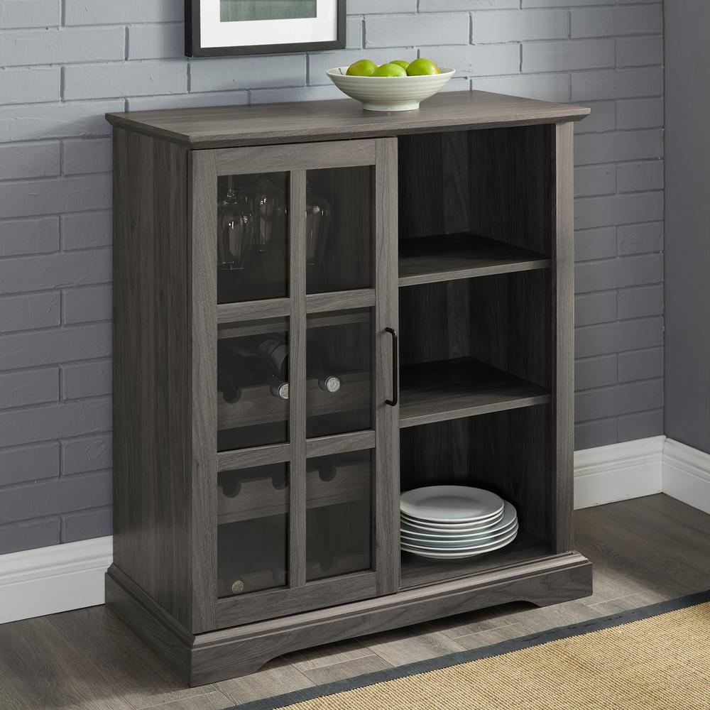 Welwick Designs 36 Sliding Glass Door Bar Cabinet Slate Grey Slate Gray Home Depot