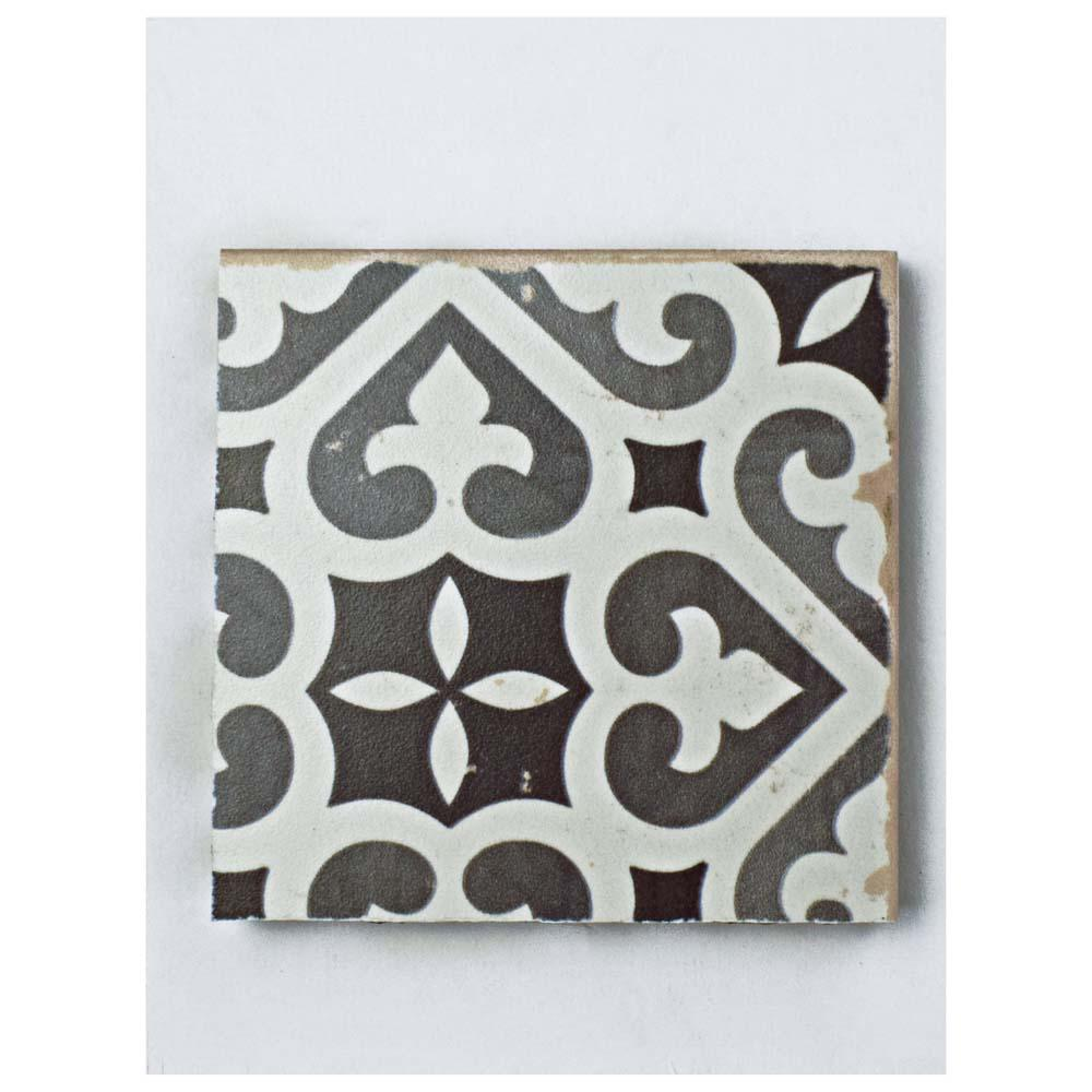 Merola Tile Faenza Nero Ceramic Floor And Wall 3 In X 4 Sample Black White Low Sheen Home Depot
