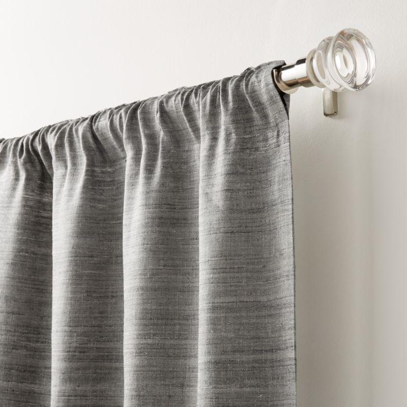 "Silvana Silk Dark Grey Curtain Panel 48""x96"""