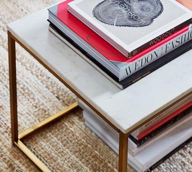 Delaney Rectangular Coffee Table, White Marble