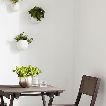 """Ceramic Wallscape Planter, Black, 6"""""""