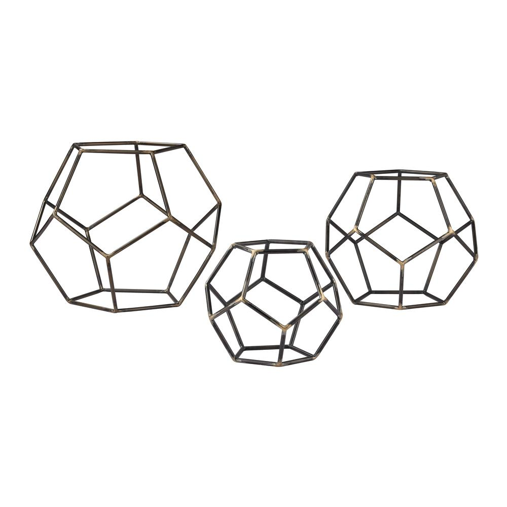 10 in. x 8 in. x 6 in. Gray Iron with Gold Highlight Decorative Geometric Orbs (Set of 3), Gold Highlight/Grey Iron