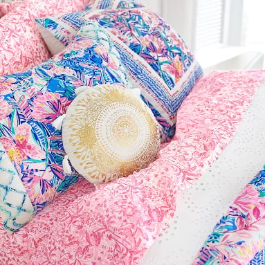 """Lilly Pulitzer Round Move It Or Lose It Pillow, 14"""" round, White/Gold"""