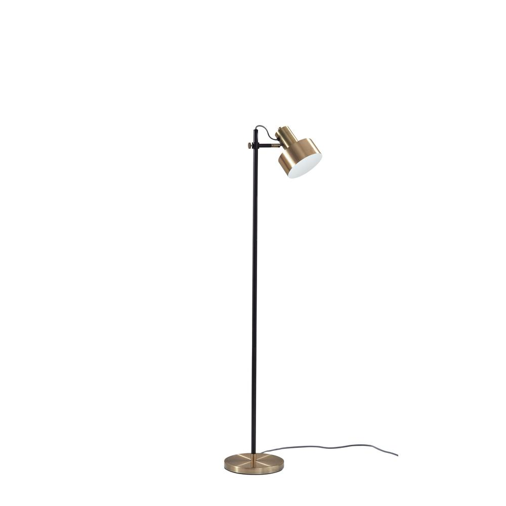 Clayton 56.5 in. Black Floor Lamp with Shade
