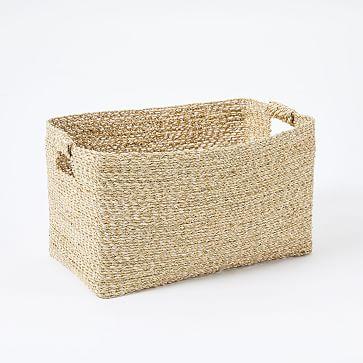 Metallic Woven Storage Basket, Gold, Console