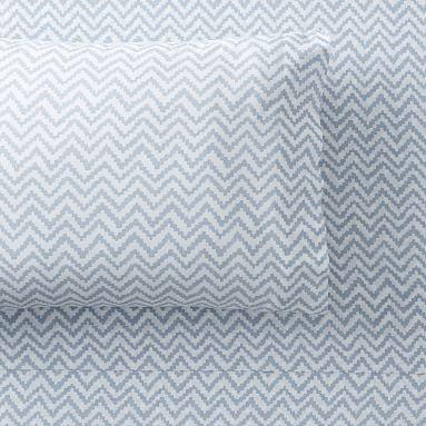 Chevron Organic Sheet Set, Twin/Twin XL, Light Gray