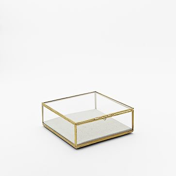 Golden Glass Shadow Box, Gold, Small Square