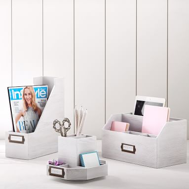 Classic Wooden Desk Accessories, Magazine Caddy, Simply White