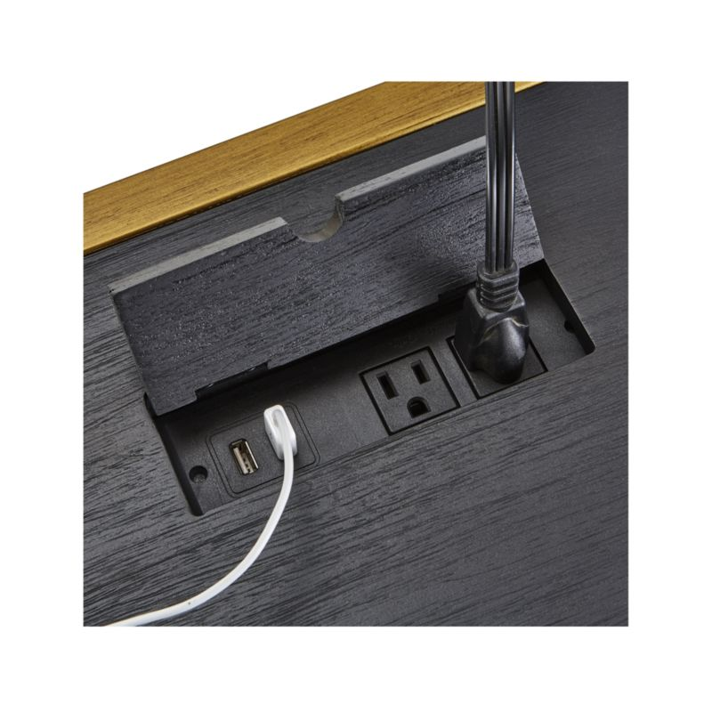 Oxford Black Executive Desk with Power Outlet