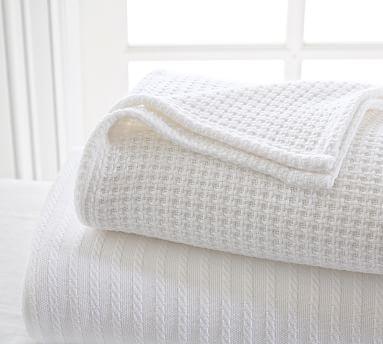 Sleepsmart 37.5 Basketweave Blanket King/Cal King White