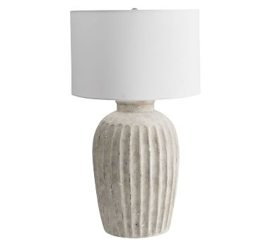 "Anders Round 31"" Table Lamp, Rustic White Base With Large Gallery Straight Sided Linen Drum Shade, White, Dimms"