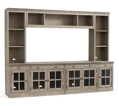 """Livingston 7-Piece Entertainment Center With Glass Cabinet, Gray Wash, 105"""""""