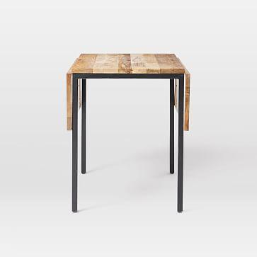 Box Frame Drop Leaf Dining Table, Raw Mango