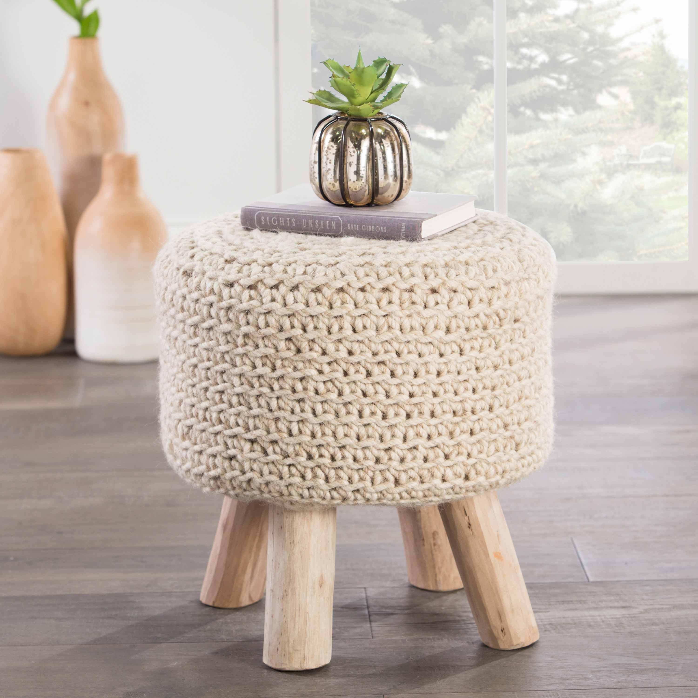 Mya Modern Round Ivory Wool Upholstered Brown Wood Stool