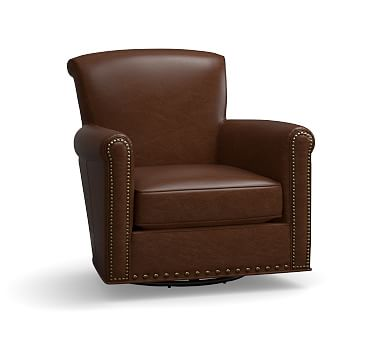 Irving Leather Swivel Armchair, Bronze Nailheads, Polyester Wrapped Cushions, Leather Legacy Chocolate