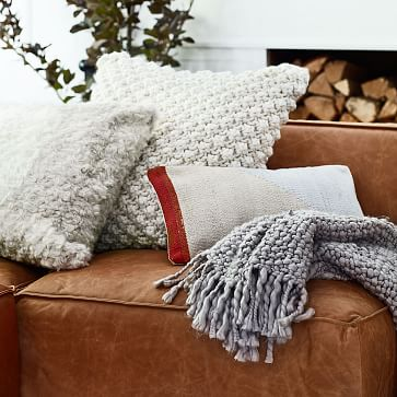 """Bobble Knit Pillow Cover, Natural 24"""" x 24"""""""