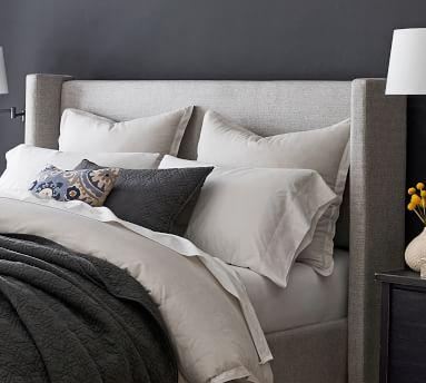 Elliot Shelter Upholstered Headboard with Footboard Storage Platform Bed, Queen, Basketweave Slub Ivory