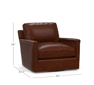 Tyler Leather Square Arm Swivel Armchair Without Nailheads, Down Blend Wrapped Cushions, Statesville Caramel