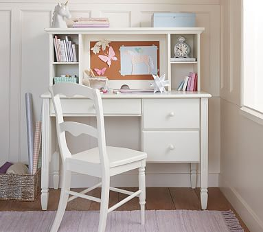 Madeline Storage Desk & Hutch Set, Simply White, Standard UPS Delivery