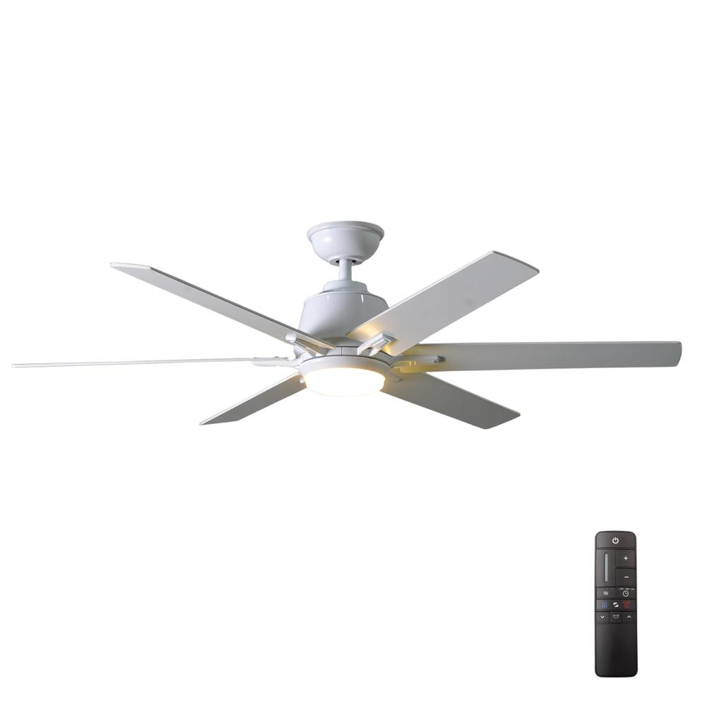 Home Decorators Collection Kensgrove 54 in. Integrated LED Indoor White Ceiling Fan with Light Kit and Remote Control