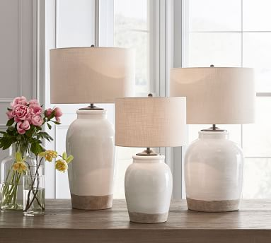 Miller Small Table Lamp, with Medium Textured Straight Sided Shade, Sand