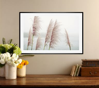"Wild Pampas by Lupen Grainne, 42 x 28"", Ridged Distressed Frame, White, Mat"