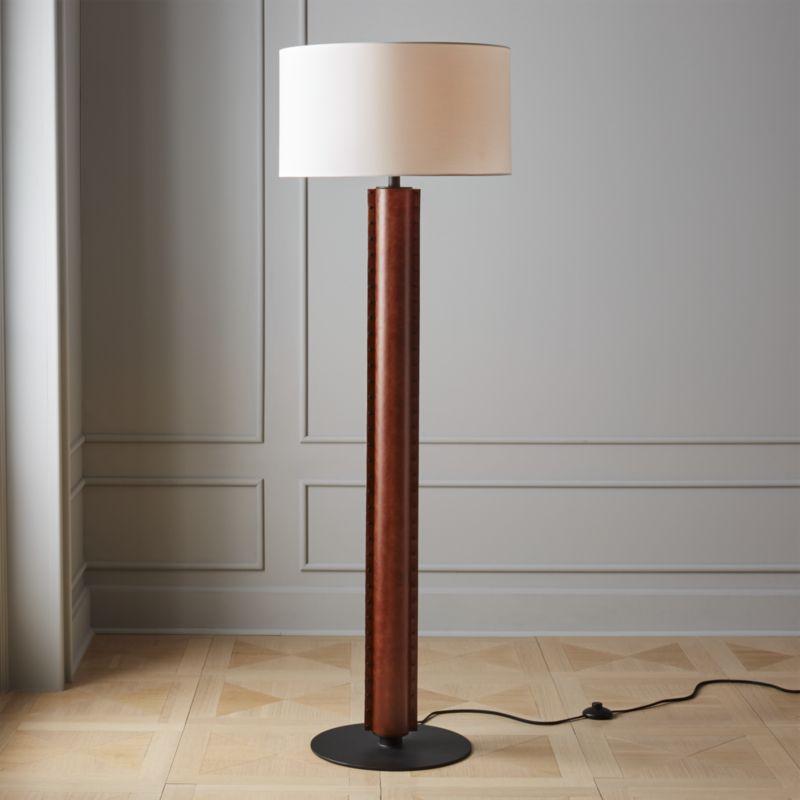 Rivet Brown Leather Floor Lamp