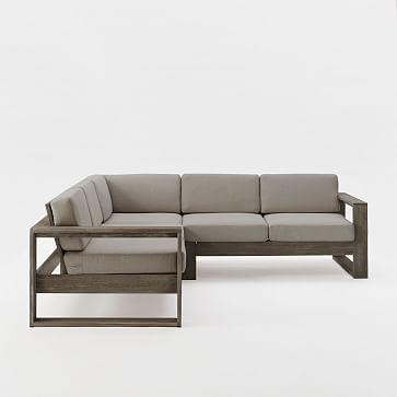 Portside 3-Piece Sectional (Left Arm Sofa + Corner + Right Arm Sofa), Weathered Gray