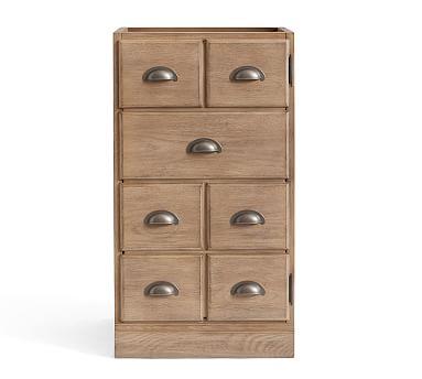 Printer's Bluff Cut Drawer Door Cabinet Pedestal, Seadrift
