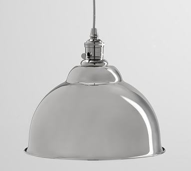 PB Classic Nickel Pendant Hardwire Kit + Bell Shaped Large Shade, Nickel