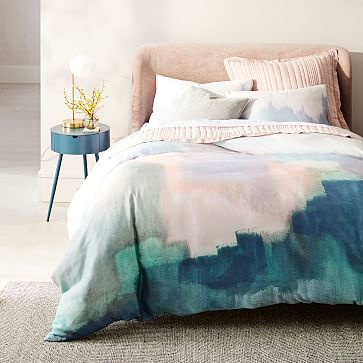 Lana Upholstered Bed, Queen, Yarn Dyed Linen Weave, Stone White