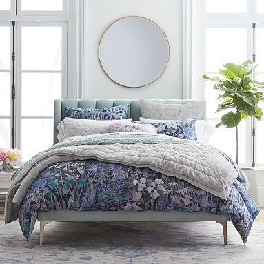 Avalon Channel Stitch Bed, King, Dusty Blush Lustre Velvet, IDS