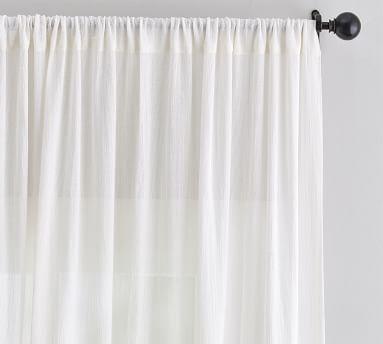 "Cotton Gauze Sheer Curtain, 96"", Ivory"