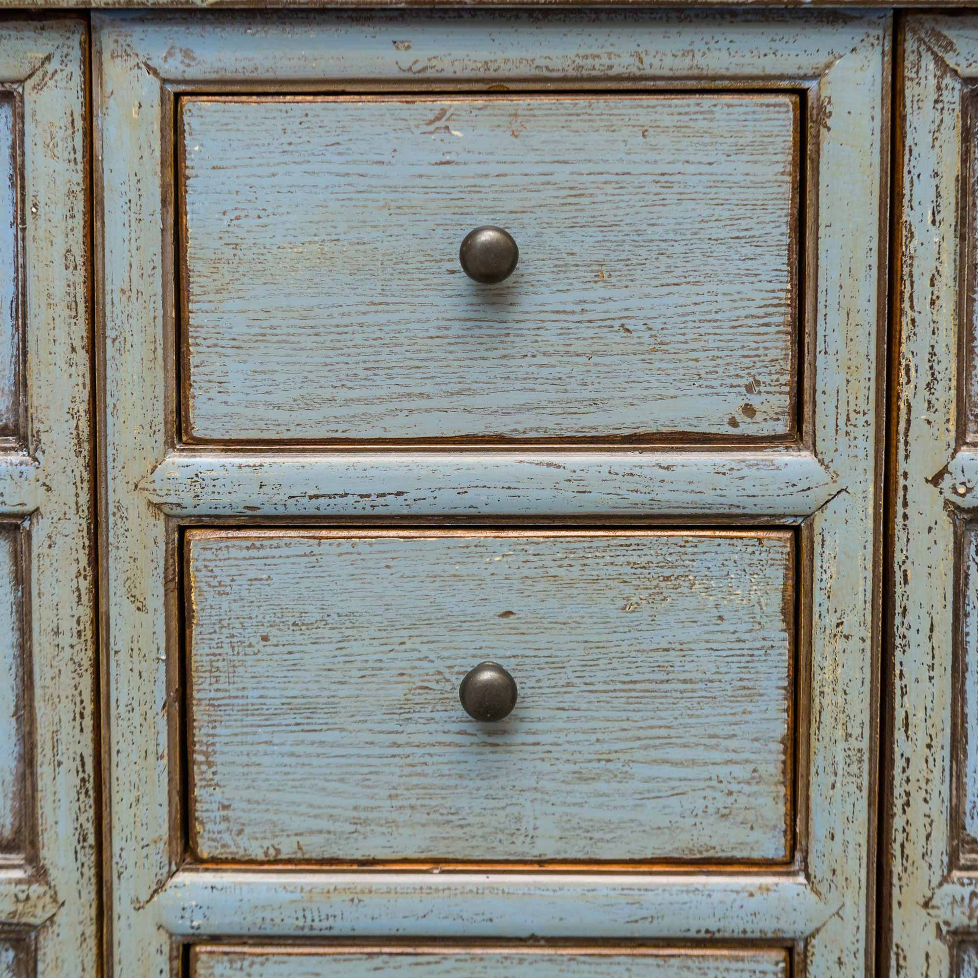Alan Rustic Lodge 3-Drawer 4-Door Distressed Light Blue Sideboard