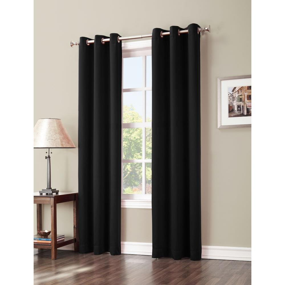 Sun Zero Blackout Gavin 84 in. L Blackout Curtain Panel in Black, 84/Black