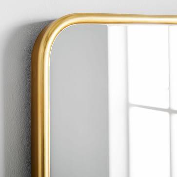 Modern Streamline Wall Mirror, Antique Brass