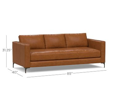 """Jake Leather Sofa 85"""", Down Blend Wrapped Cushions, Nubuck Fawn"""