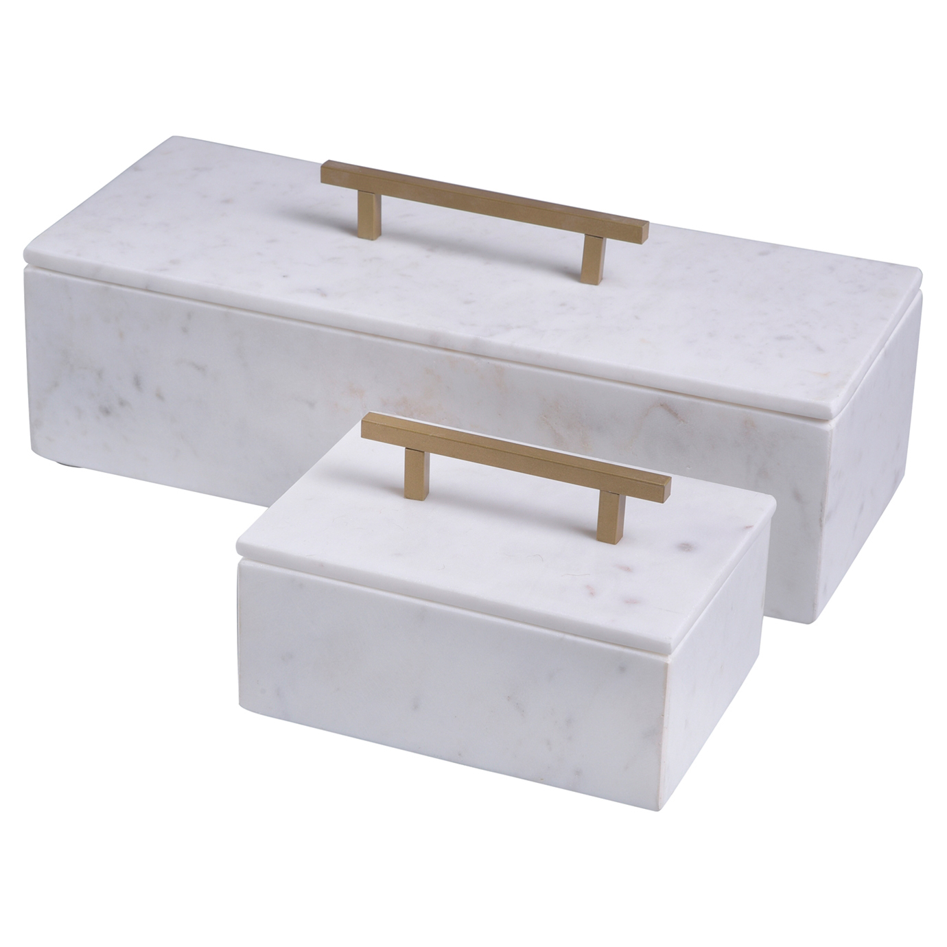 Eve Modern Classic White Marble Gold Metal Handle Box - Large