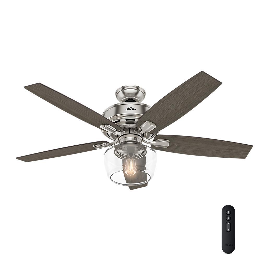 Hunter Bennett 52 in. LED Indoor Brushed Nickel Ceiling Fan with Globe Light Kit and Handheld Remote Control