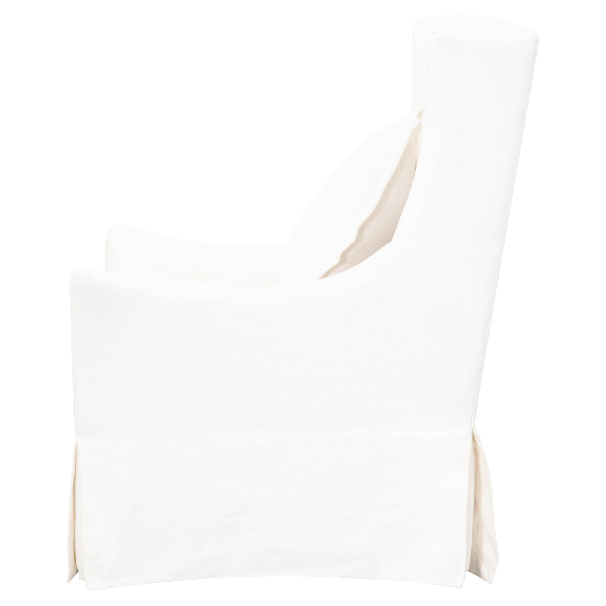 Orley Modern Classic White Upholstered Slipcover Swivel Occasional Chair