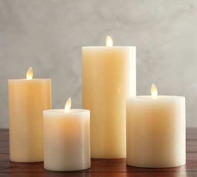 Premium Flicker Flameless Wax Candle, White - Mix set of 4 - 3X3, 3X6, 4X4.5, 4X8