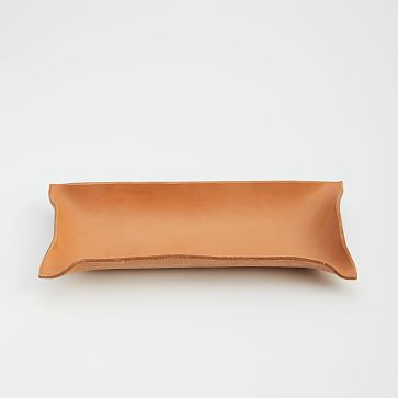 """Made Solid Hand-Shaped Leather Tray, 4.5""""x9"""""""