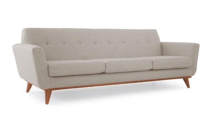 Beige Hughes Mid Century Modern Grand Sofa - Cody Sandstone - Medium