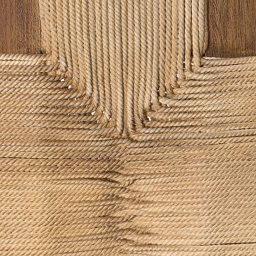 Mahogany Woven Rope Bench